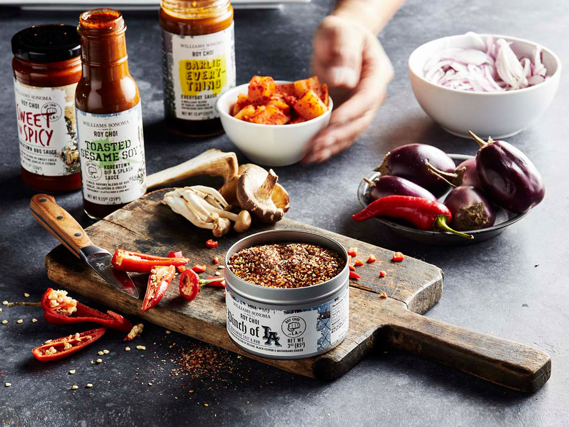 lifestyle shot of roy chois spices and seasonings
