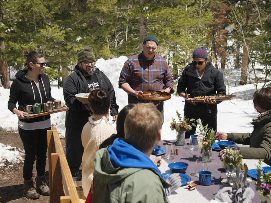 Chefs presenting camping dishes on Top Chef