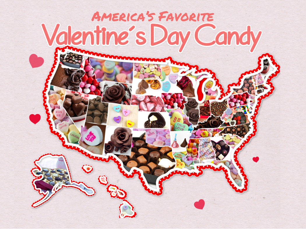 map of usa candy on valentines day