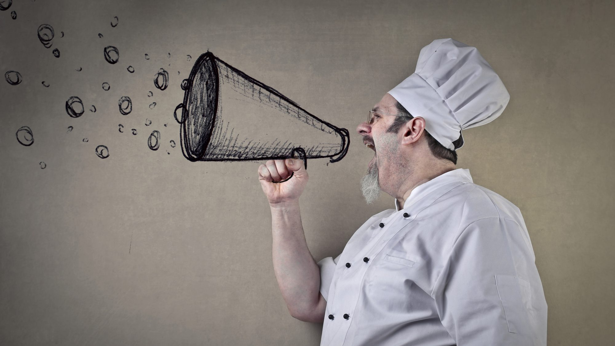 chef shouting on megaphone