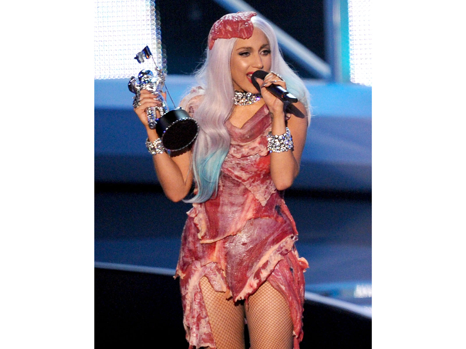 Lady Gaga wearing steak, 2010