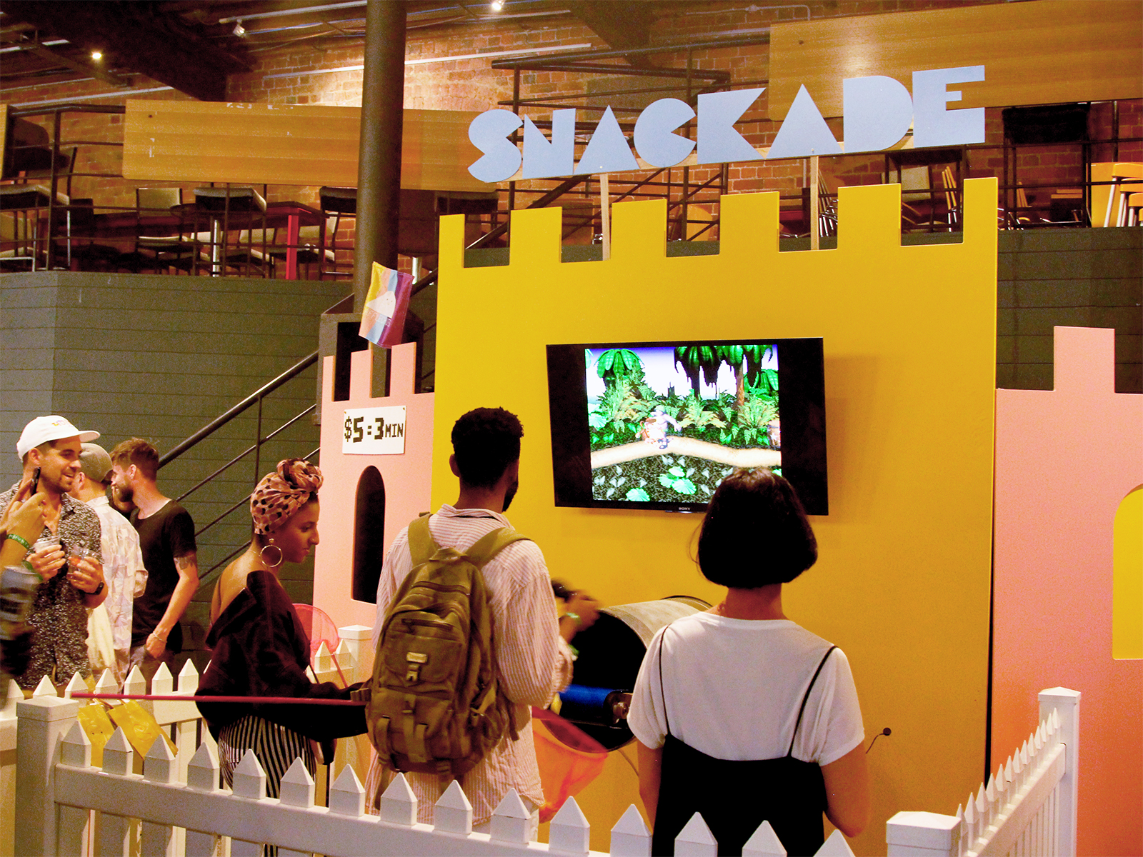 snackade sign and video game