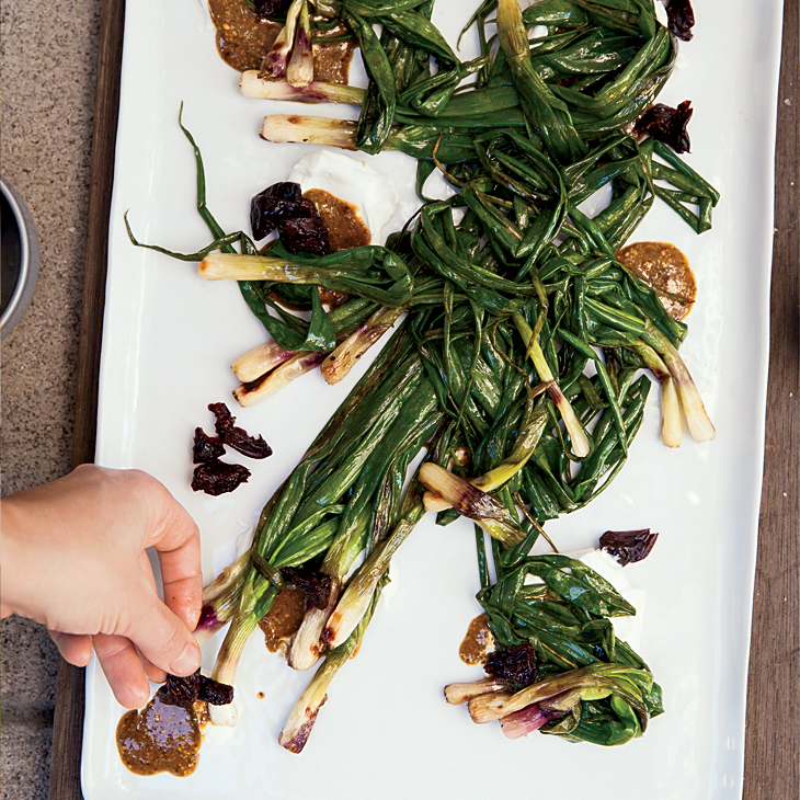 Grilled Spring Onions with Pistachio Butter
