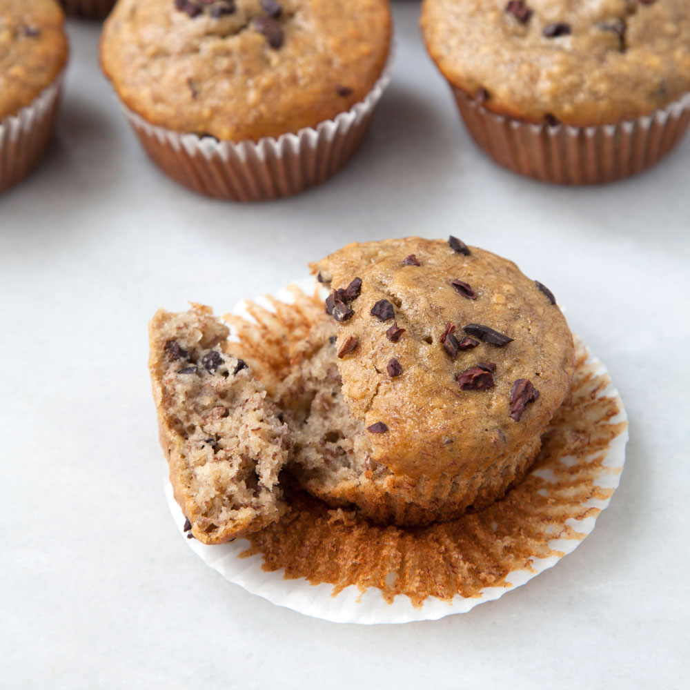 Banana Muffins with Cocoa Nibs