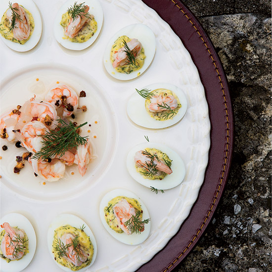 Deviled Eggs with Pickled Shrimp
