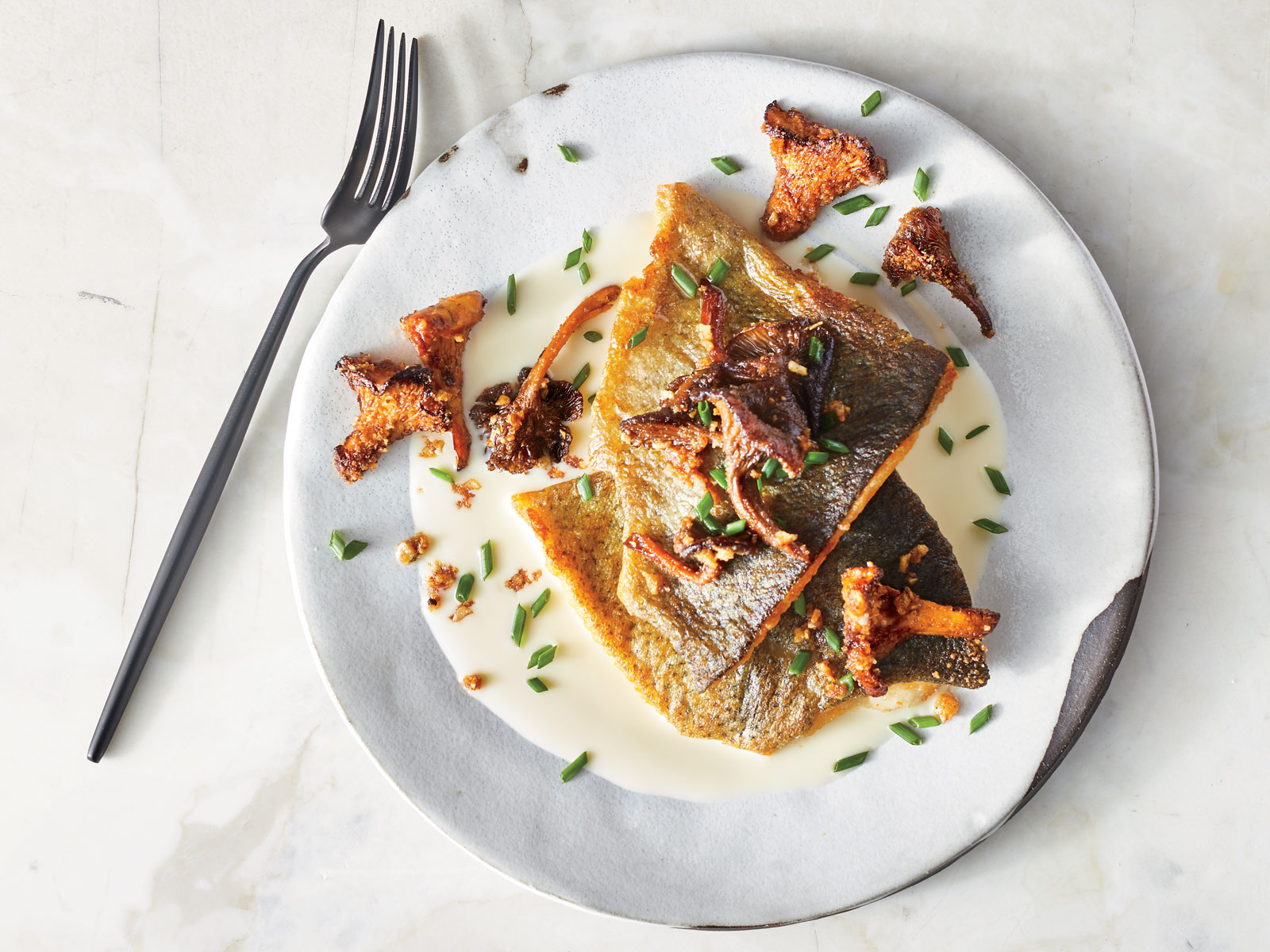 Pan Seared Trout with Green Garlic and Crunchy Chanterelles