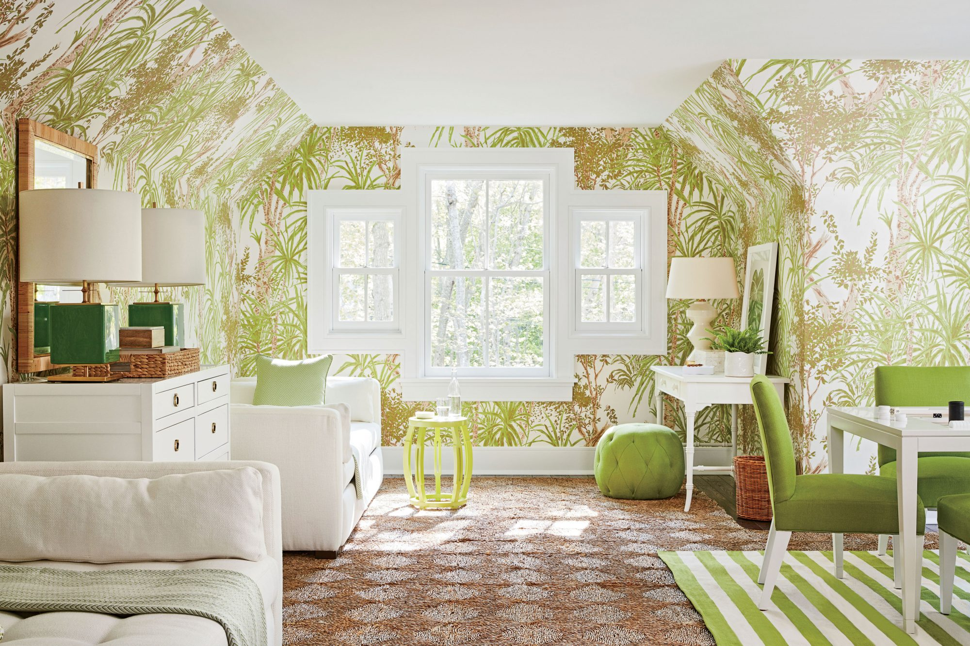 A peek out the window is all the evidence you'll need to see that brown and green are a winning (and highly complementary!) color combination. In this grown-up playroom, Meg Braff Designs' Rain Forest wallpaper climbs the walls, making the steeply...