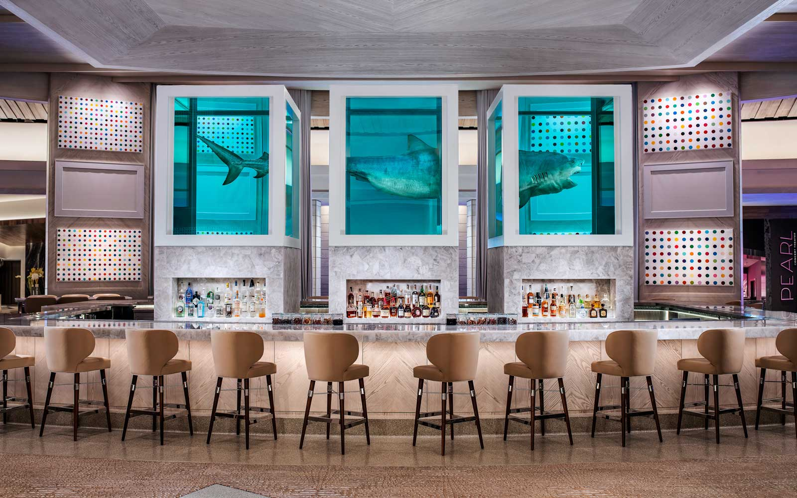 Unknown bar featuring Damien Hirst's The Unknown (Explored, Explained, Exploded), and his iconic Spot paintings debuts at Palms Casino Resort.