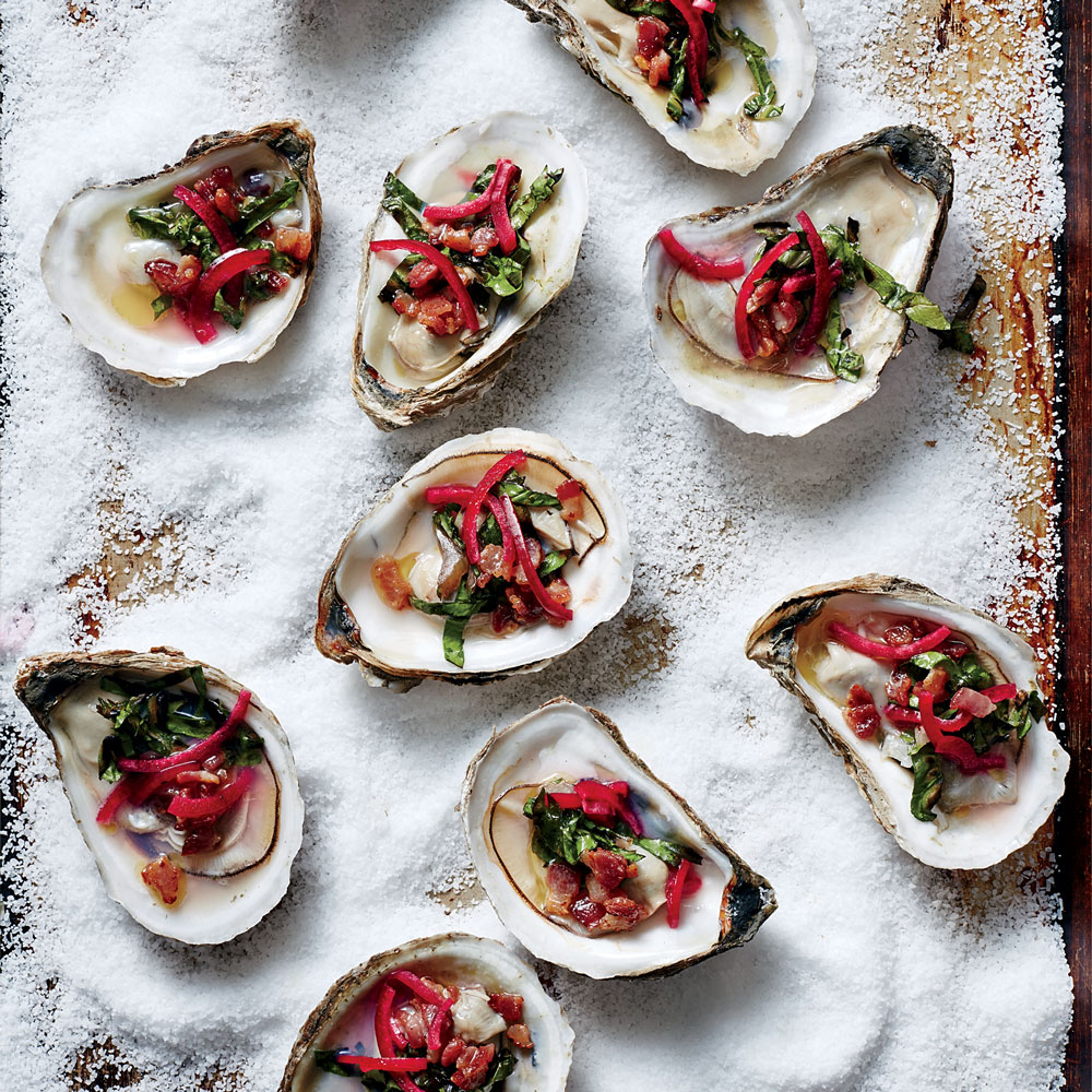 Grilled Oysters with Bacon Vinaigrette