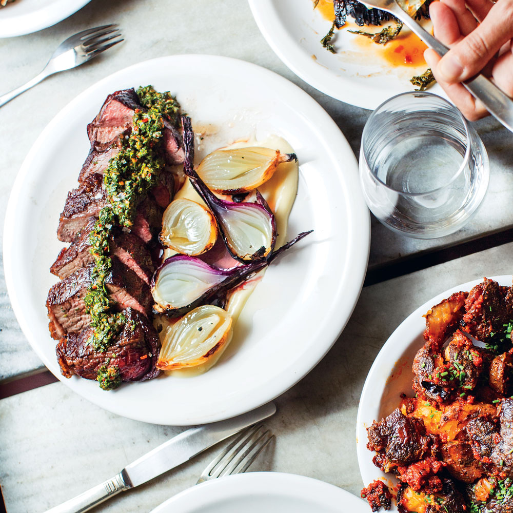 Tri-Tip Steak a la Parrilla with Chimichurri and Roasted Onions