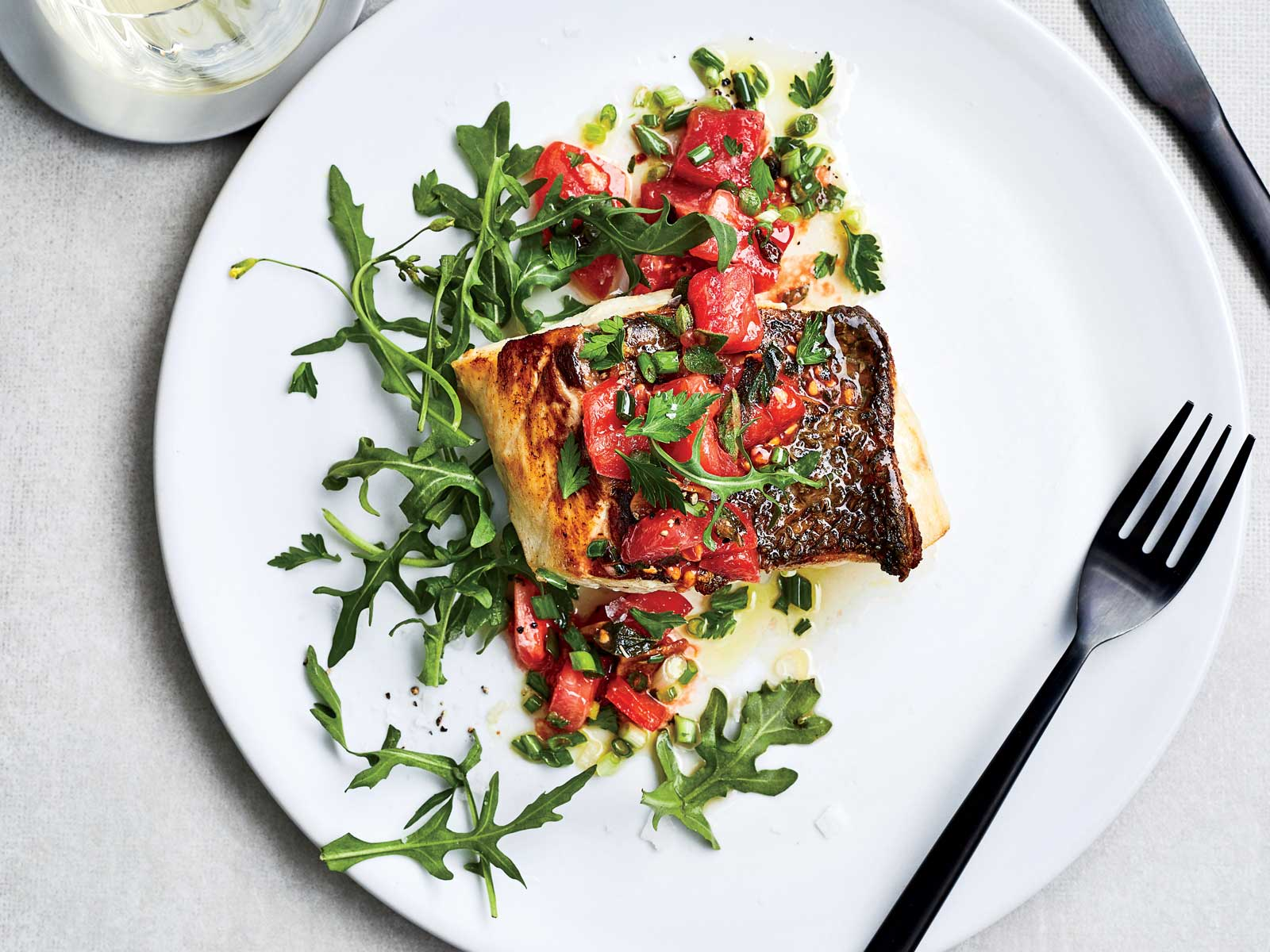 Pan Seared Bass with Garlic Scape Salmoriglio