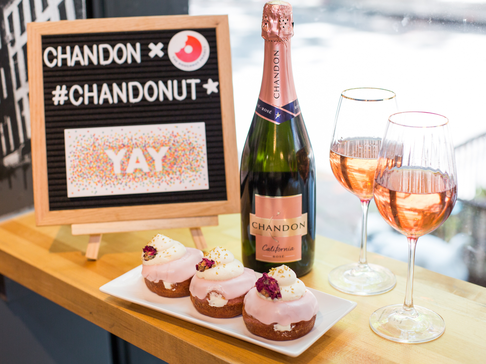 Chandon rose donut