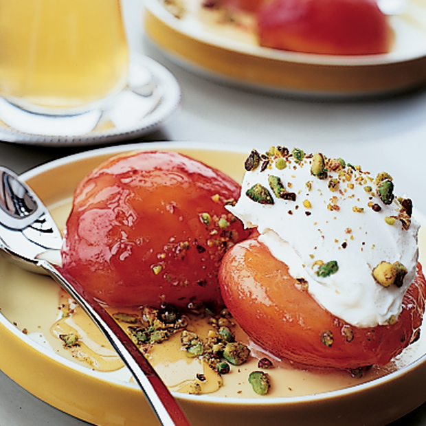 Honey-Roasted Plums with Mascarpone and Pistachios