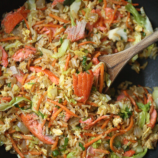 Salmon Fried Rice with Carrots and Cabbage
