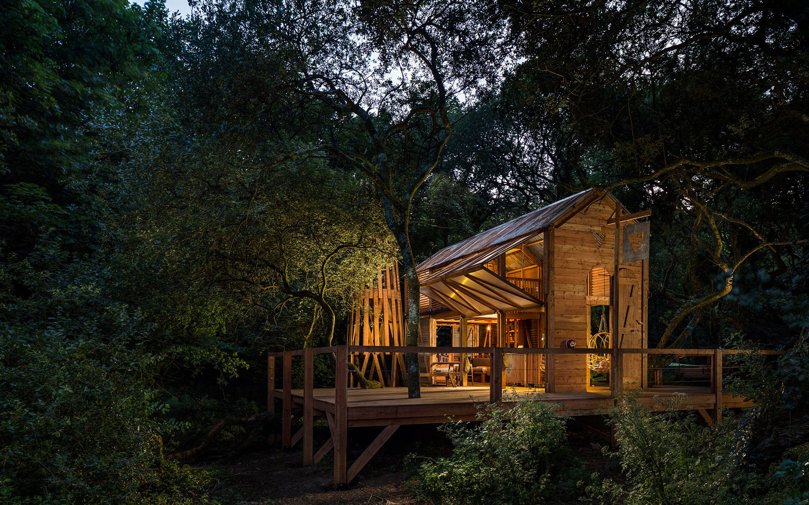 The Carlsberg cabin sits in the middle of a forest and is powered by the sun and nearby waterfalls.