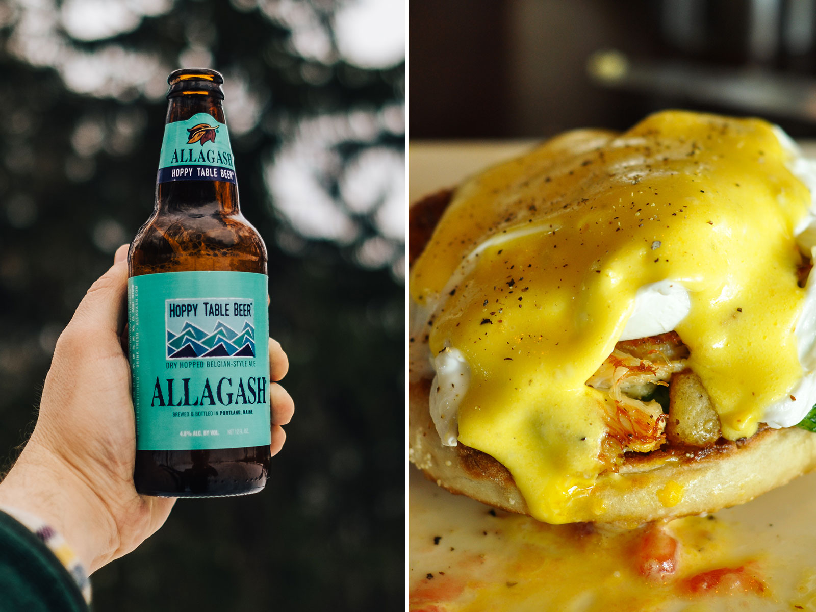 Crab Cake Benedict and Hoppy Table Beer