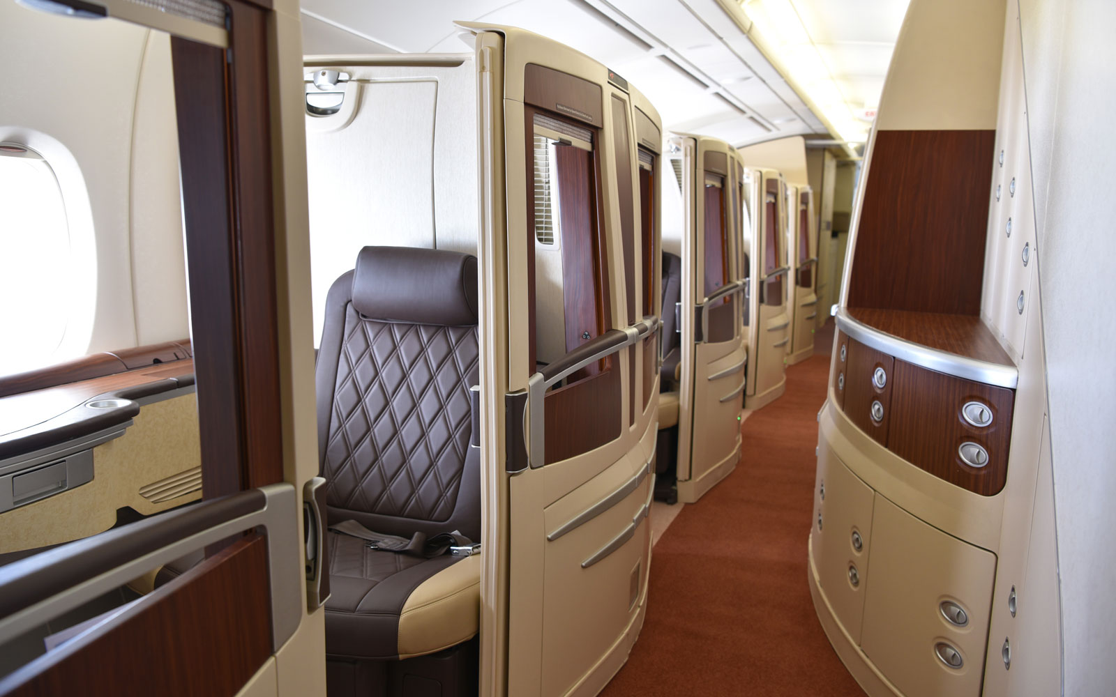 A look at the first class suites featured onboard Hi Fly's A380 aircraft.