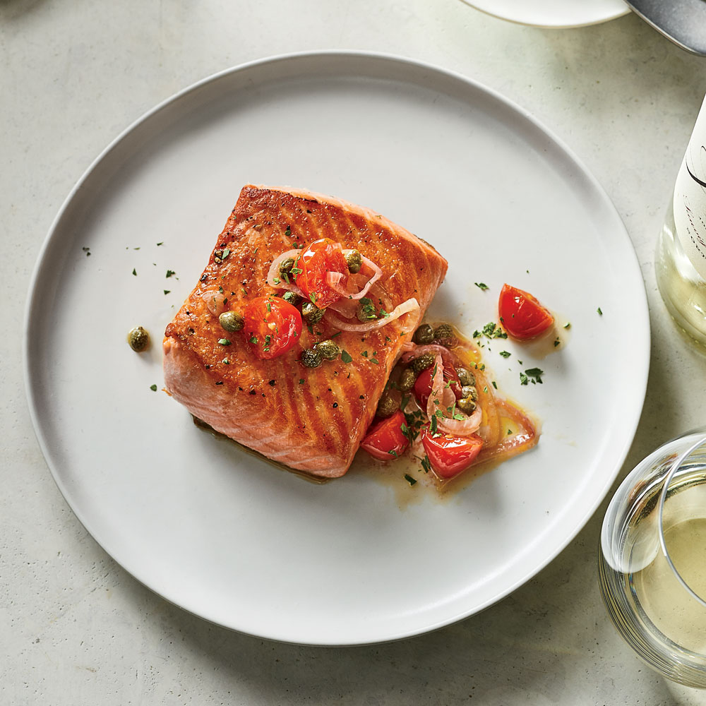 Pan-Roasted Salmon with Tomato Vinaigrette.