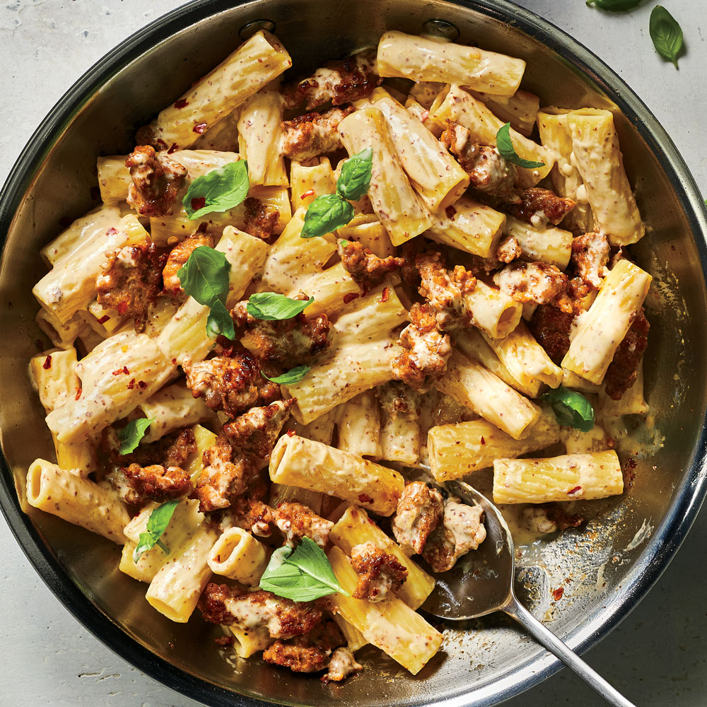 Pasta with Sausage, Basil and Mustard.