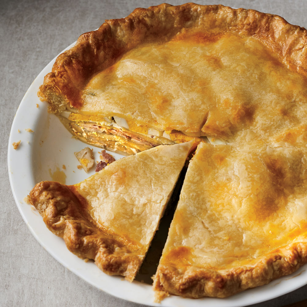 Potato and Egg Pie with Bacon and Creme Fraiche