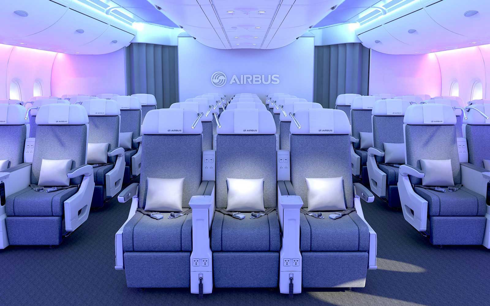 Interior of an Airbus plane