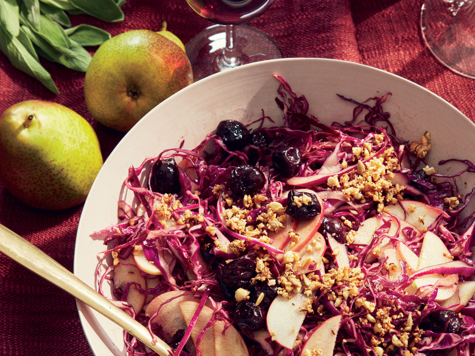 Red Cabbage Salad with Baked Cherries, Apples, and Almond Dukkah