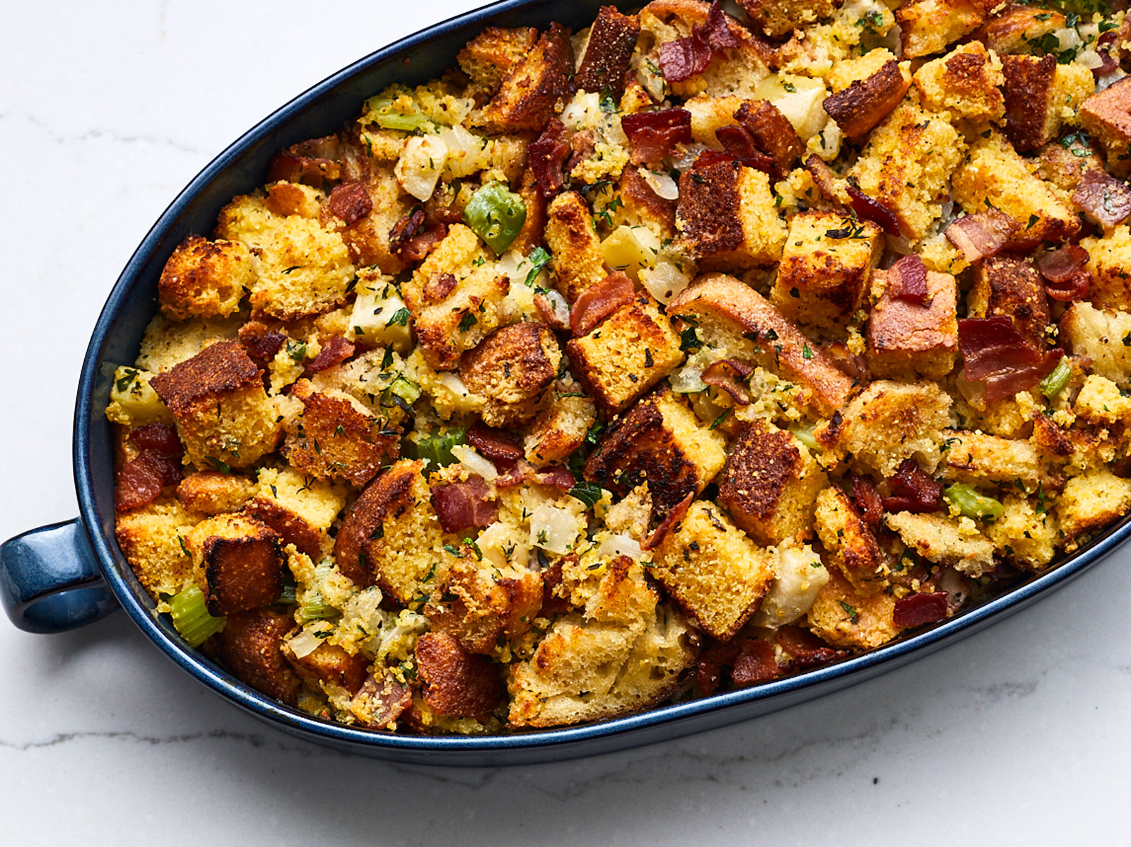 Cornbread Dressing with Buttery Sage Croutons