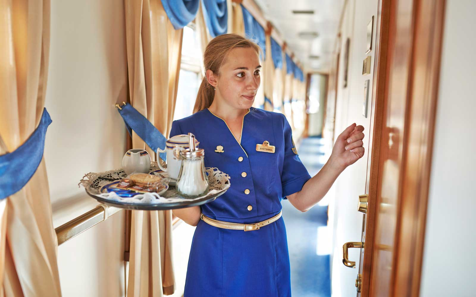 Room service at the luxury Trans-siberian express train