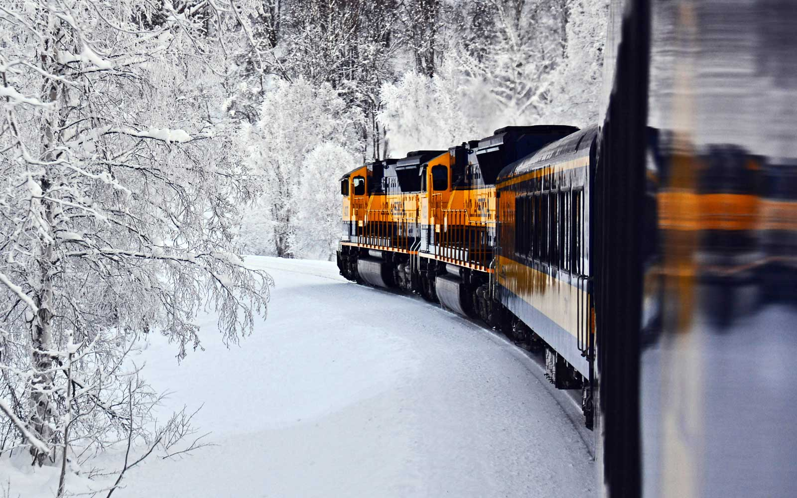 Take the Aurora Train to head to festive events in Alaska while taking in the state's natural scenery.