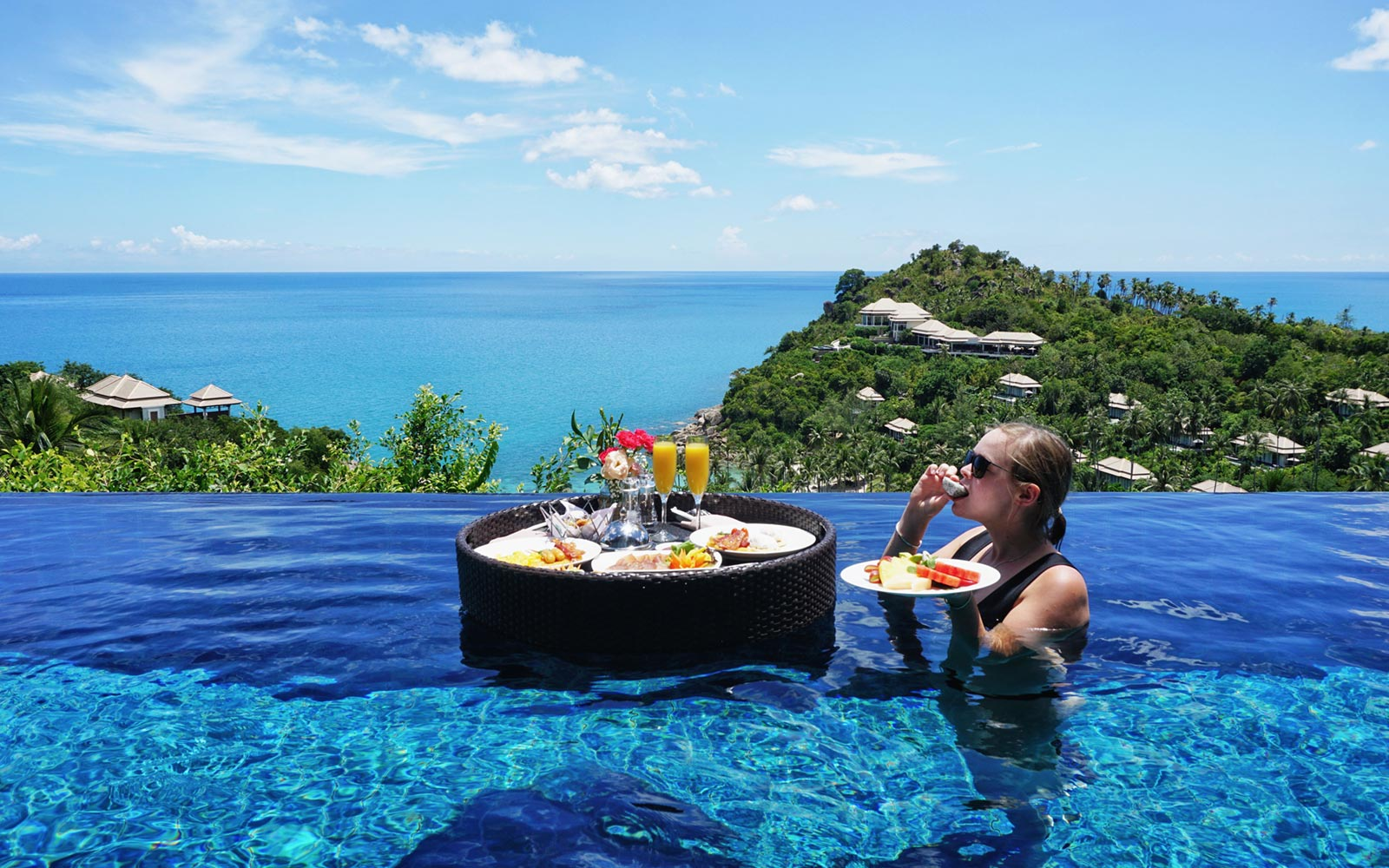 Floating Breakfast Dining at Banyan Tree Koh Samui