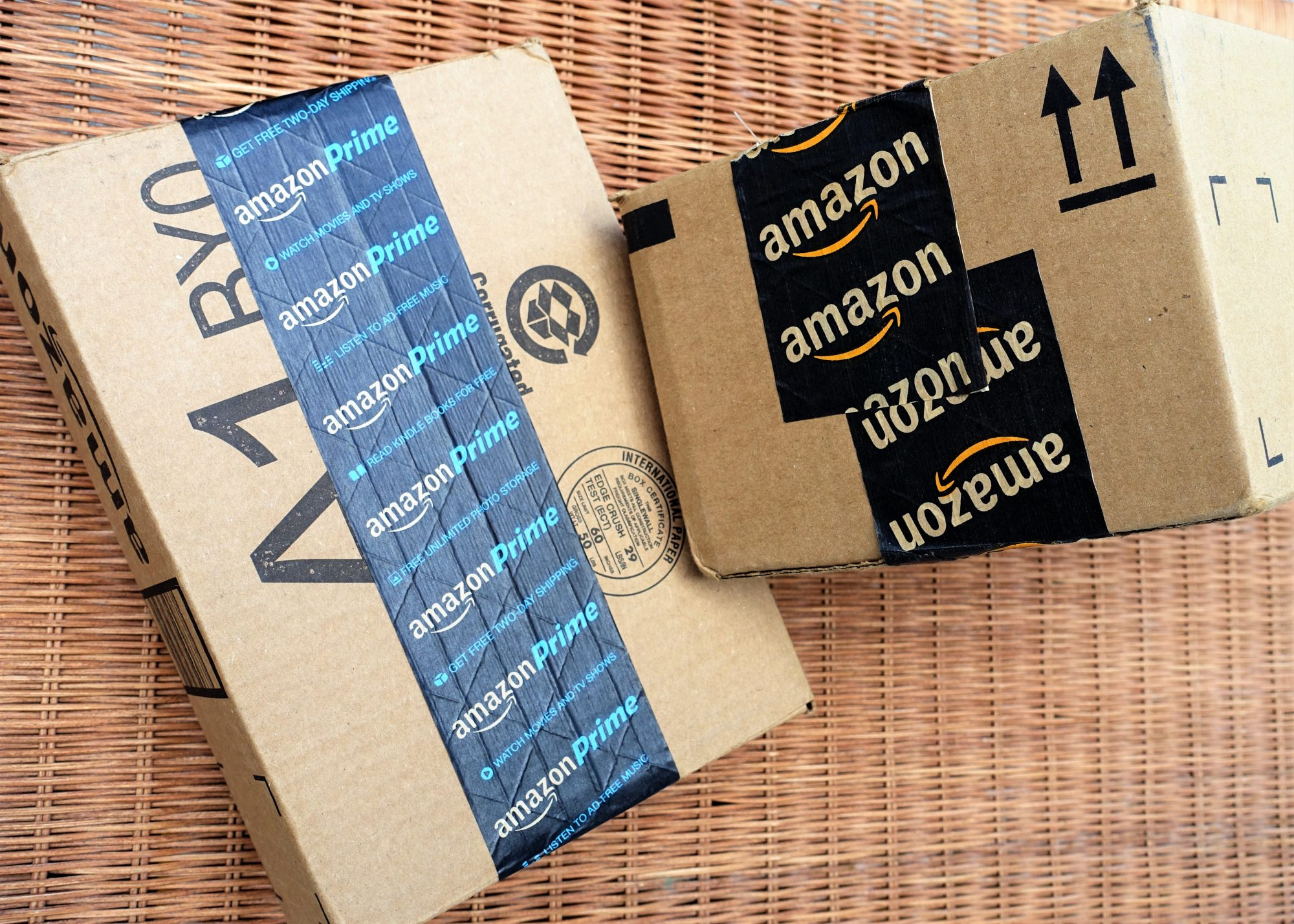 Amazon shipping packages with Prime packing tape