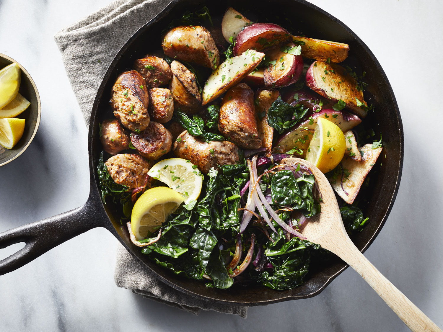 Sausage, Kale, and Potato Skillet Supper