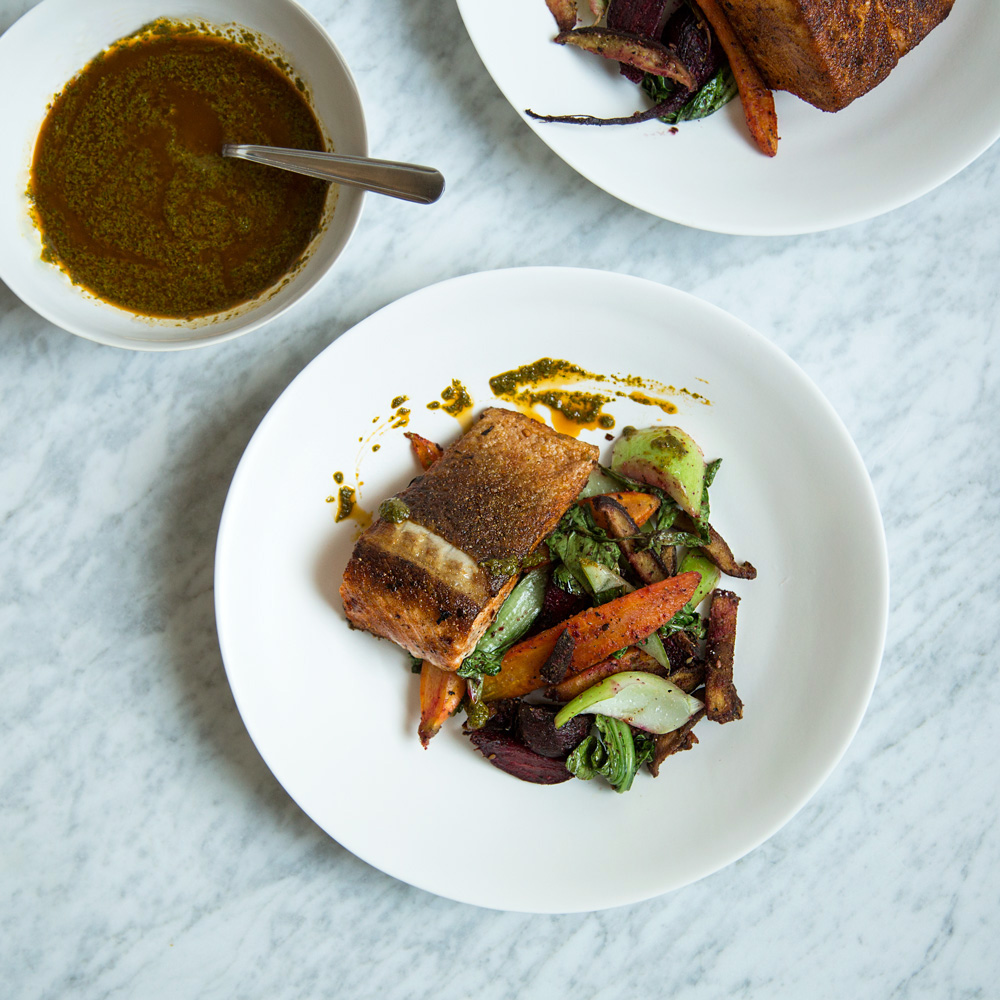 Charmoula-Spiced Salmon with Za'atar Vegetables
