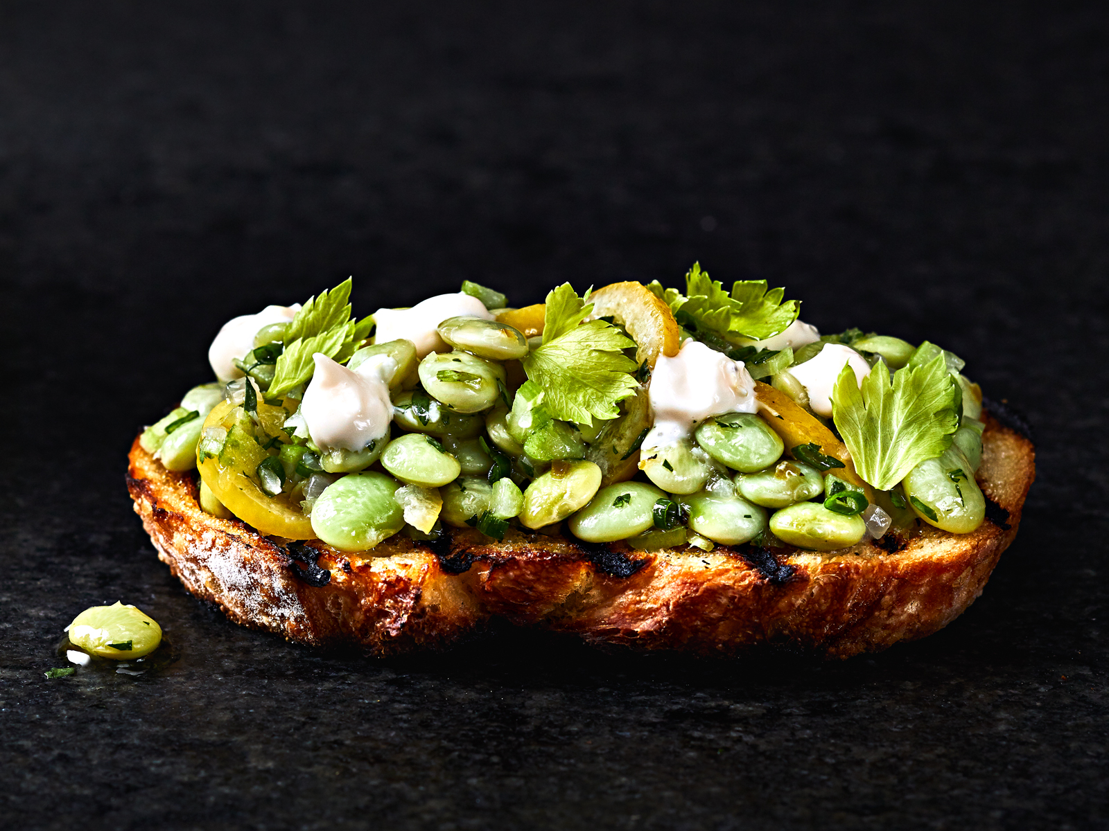 Garlic Toasts with Lemon Aioli and Marinated Beans