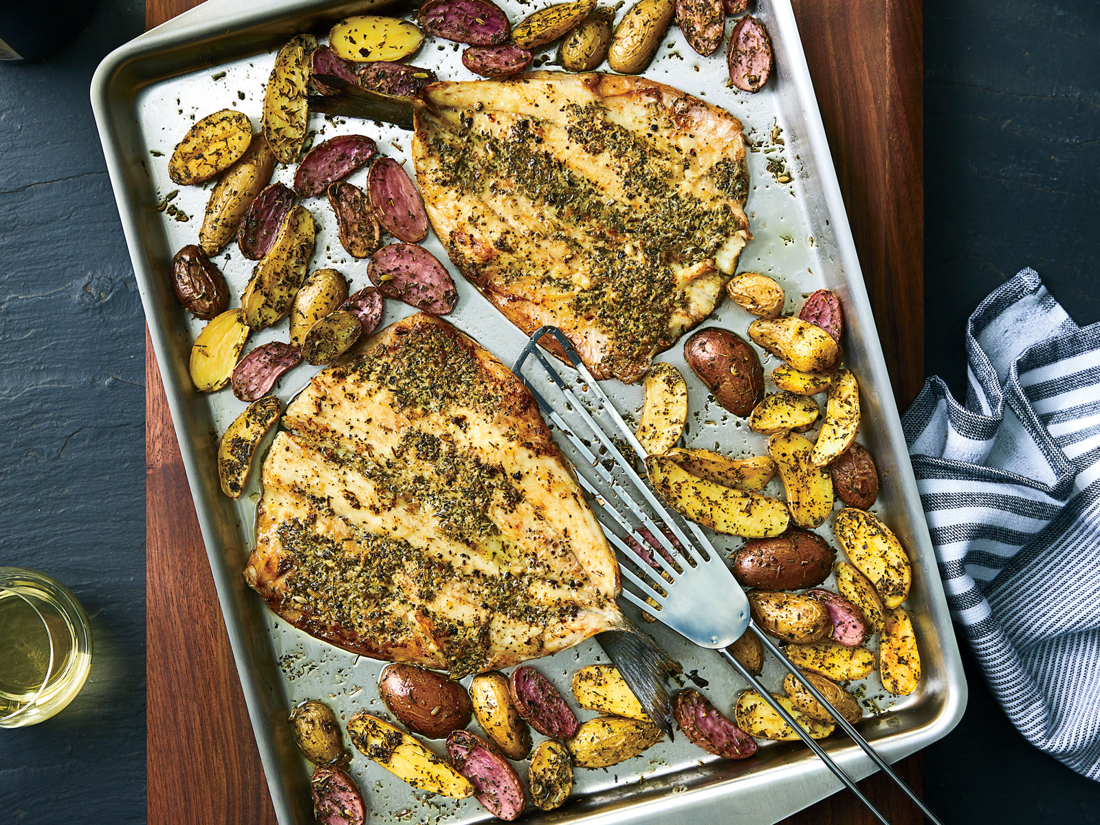 Herbes de Provence–Crusted Branzino and Fingerlings