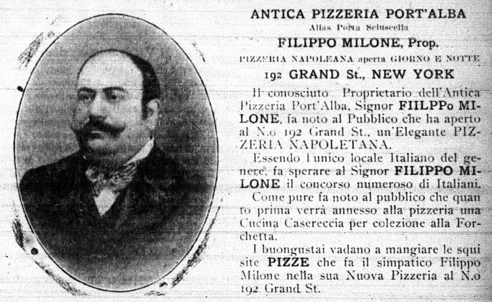 Pizza Advertisement 1903