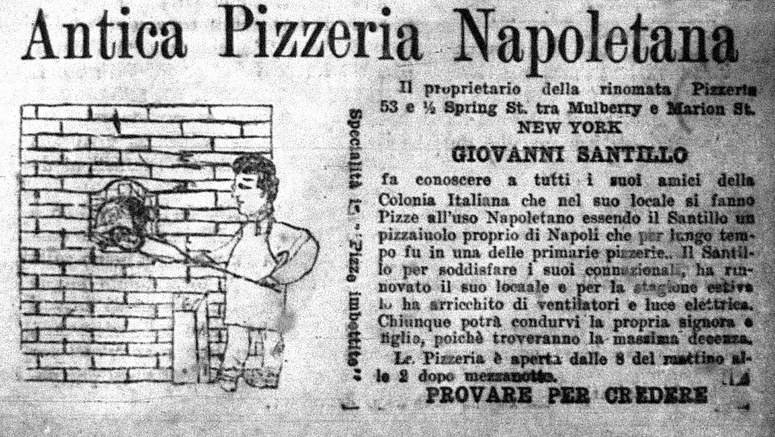 Pizza Advertisement 1905