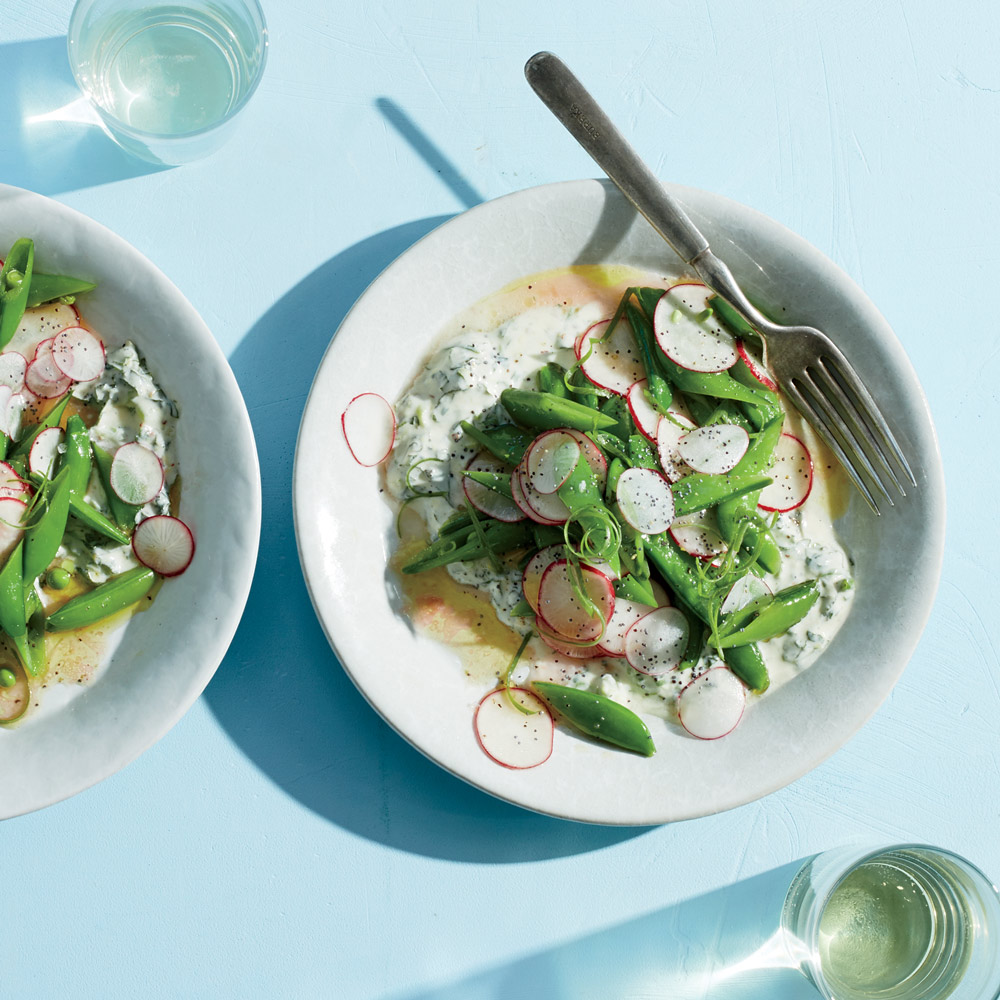 Snap Pea–Radish Salad with Herbed Yogurt