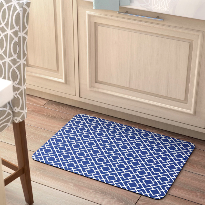 Stain Resistant kitchen mat with blue pattern