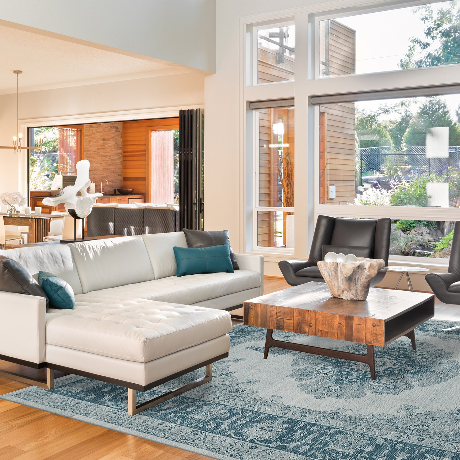 Stain Resistant blue area rug in living room
