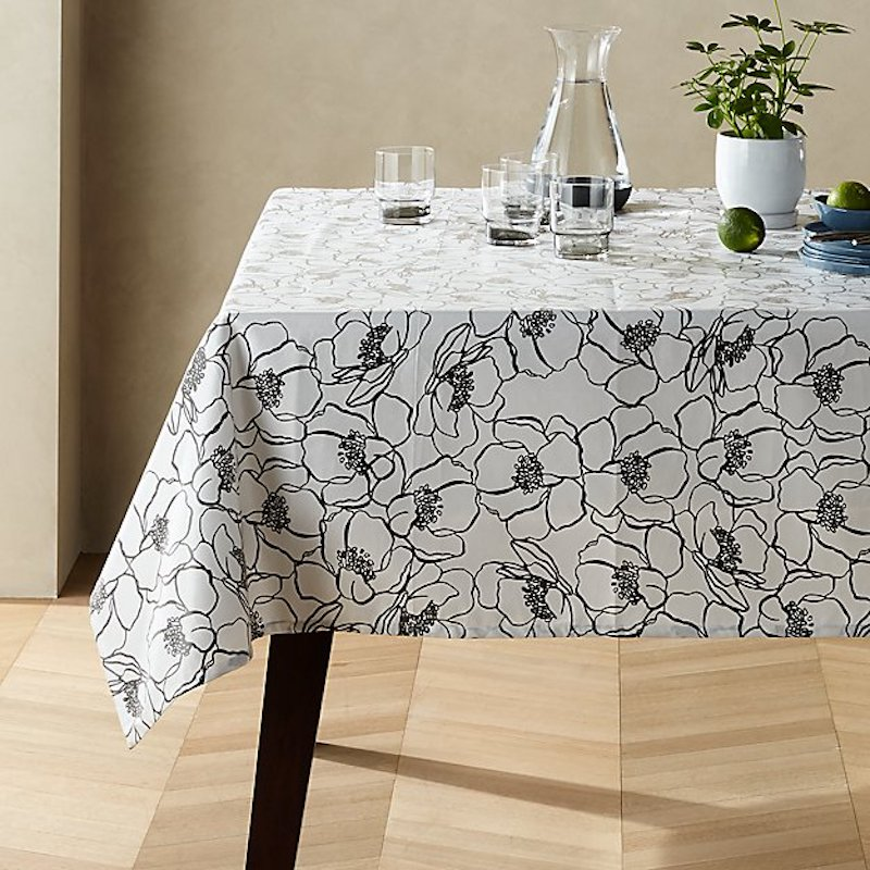 Stain Resistant black and white floral tablecloth