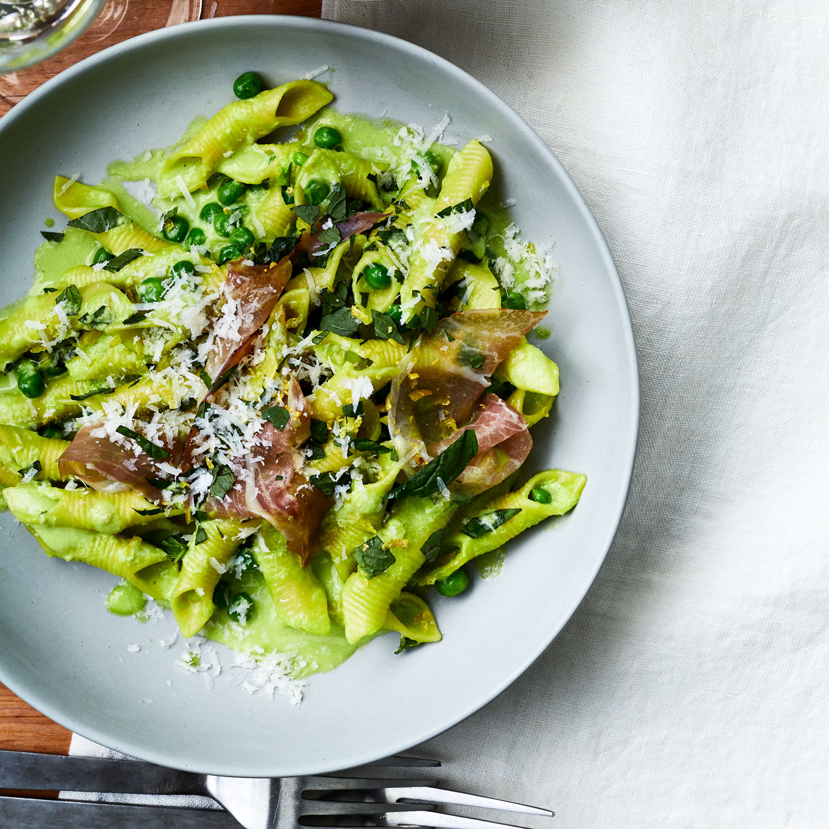 Garganelli with Speck, Peas, and Scallion Cream