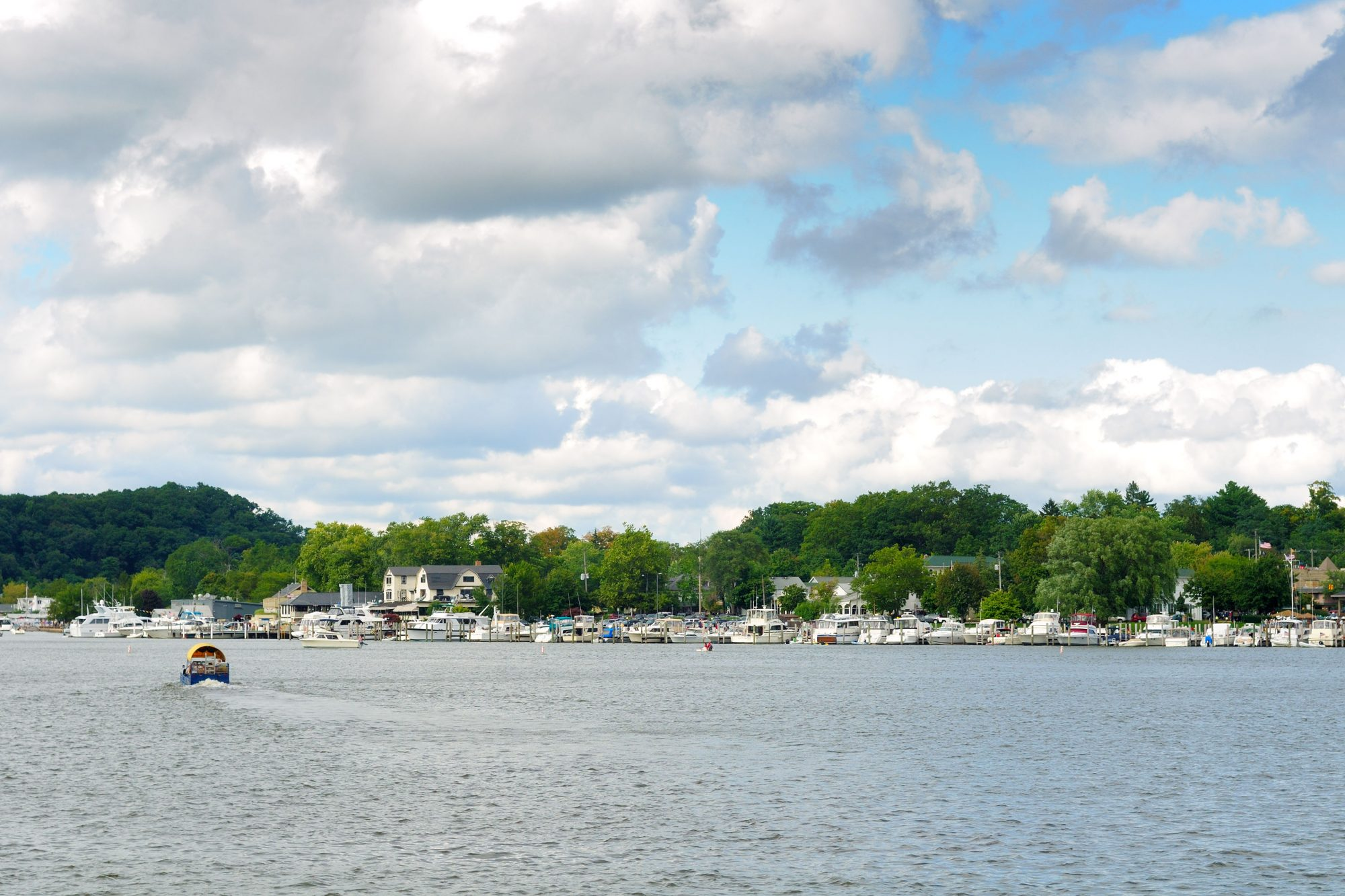 """""""Boats at the little town of Saugatuck, Michigan, seen from the water"""""""