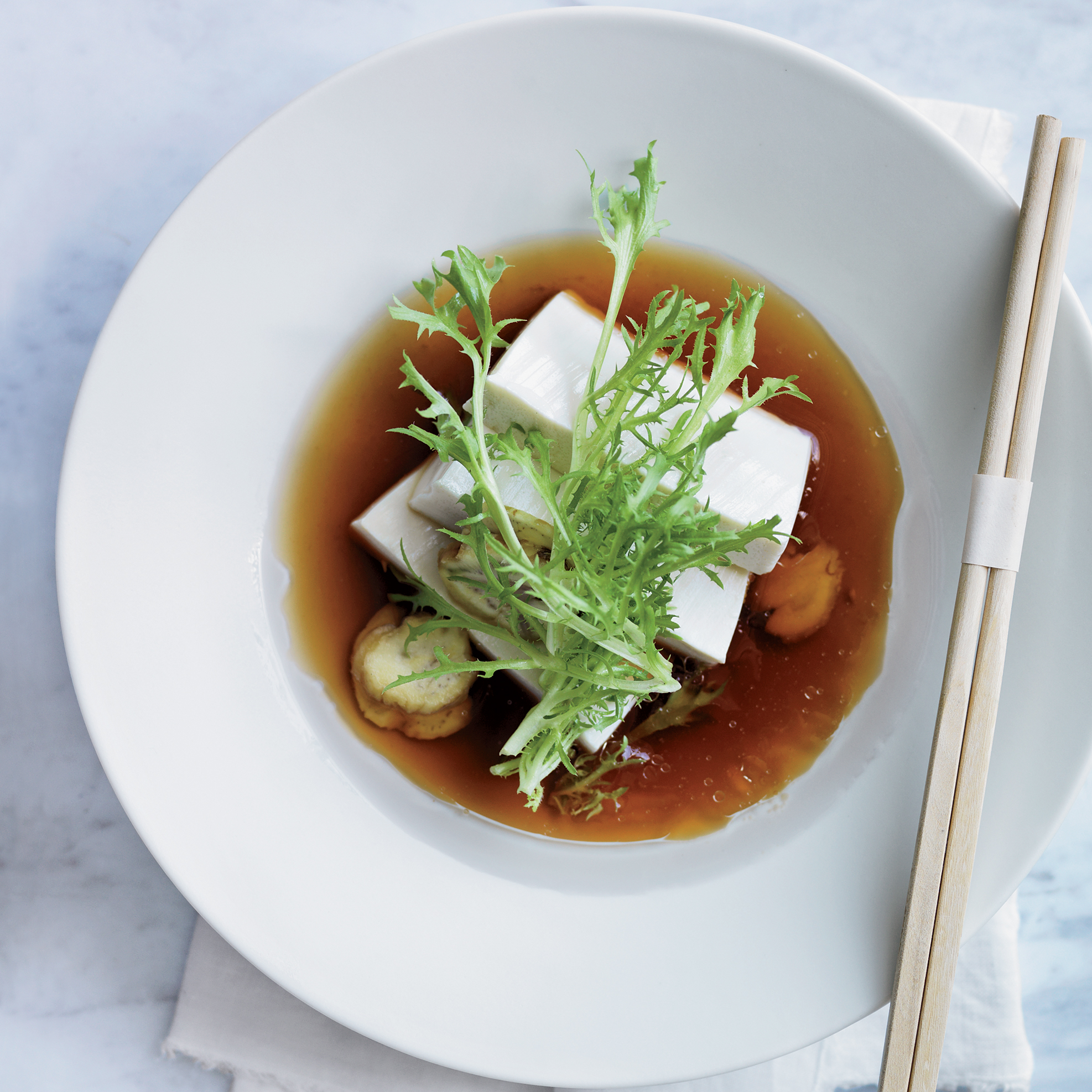 Cold Tofu with Chestnuts in Apple Dashi