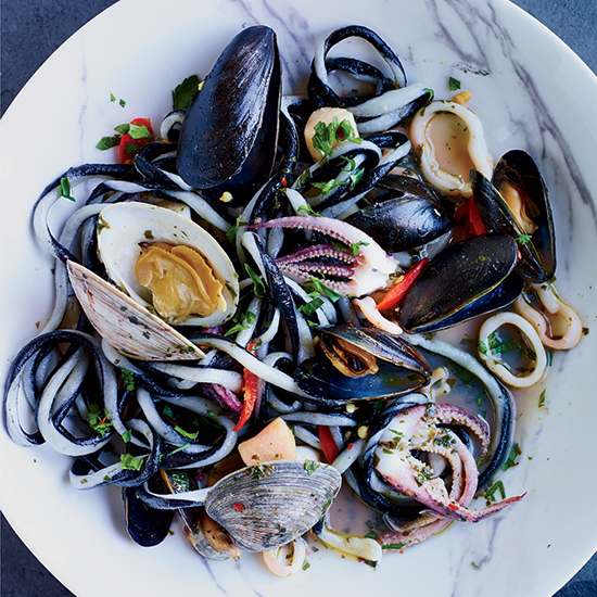 Black-and-White Pici Pasta with Squid and Shellfish