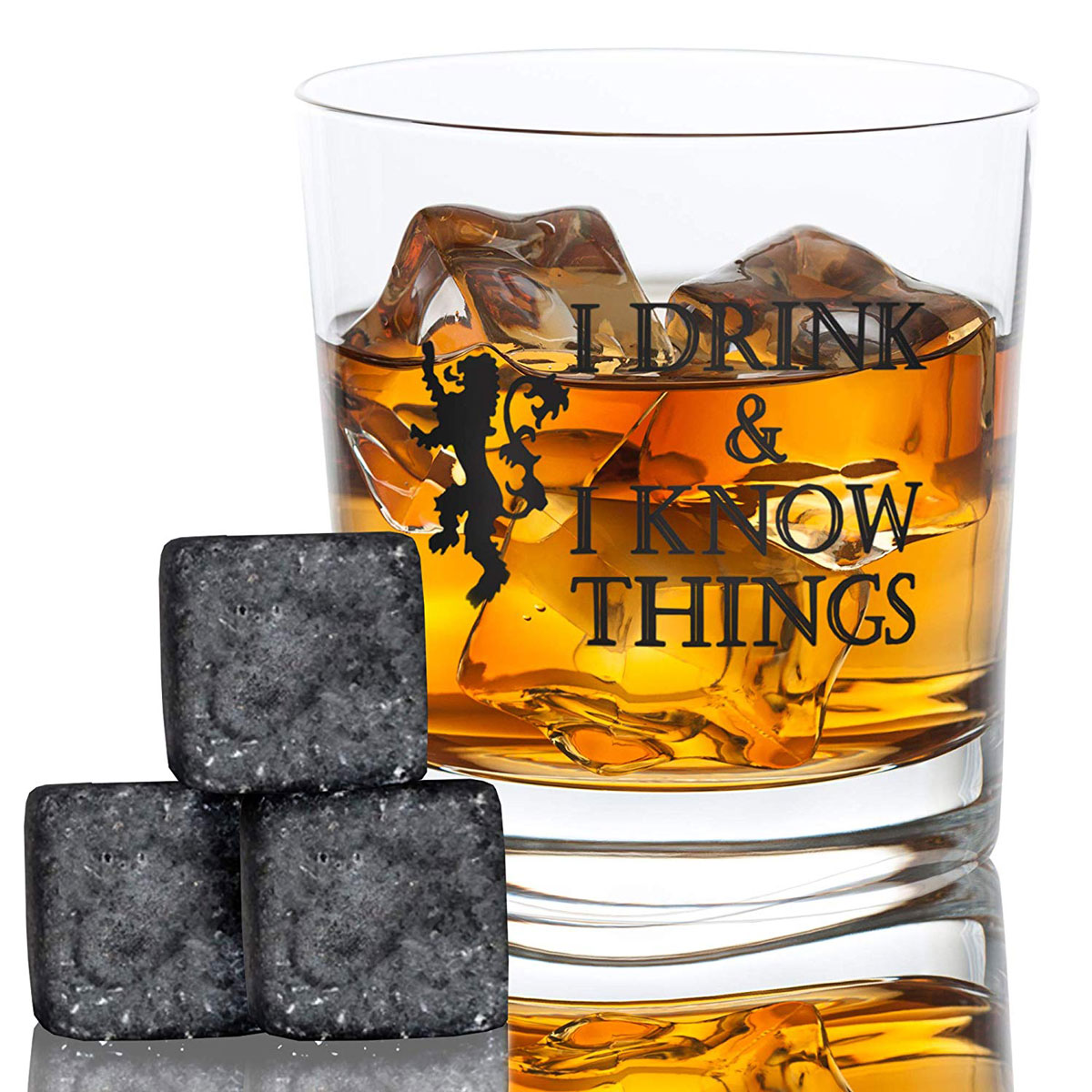 Whiskey glass and whiskey stones