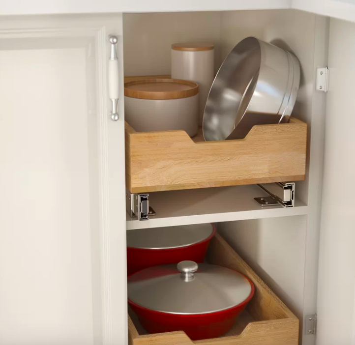 Kitchen organization DIY, pull-out drawers in cabinet