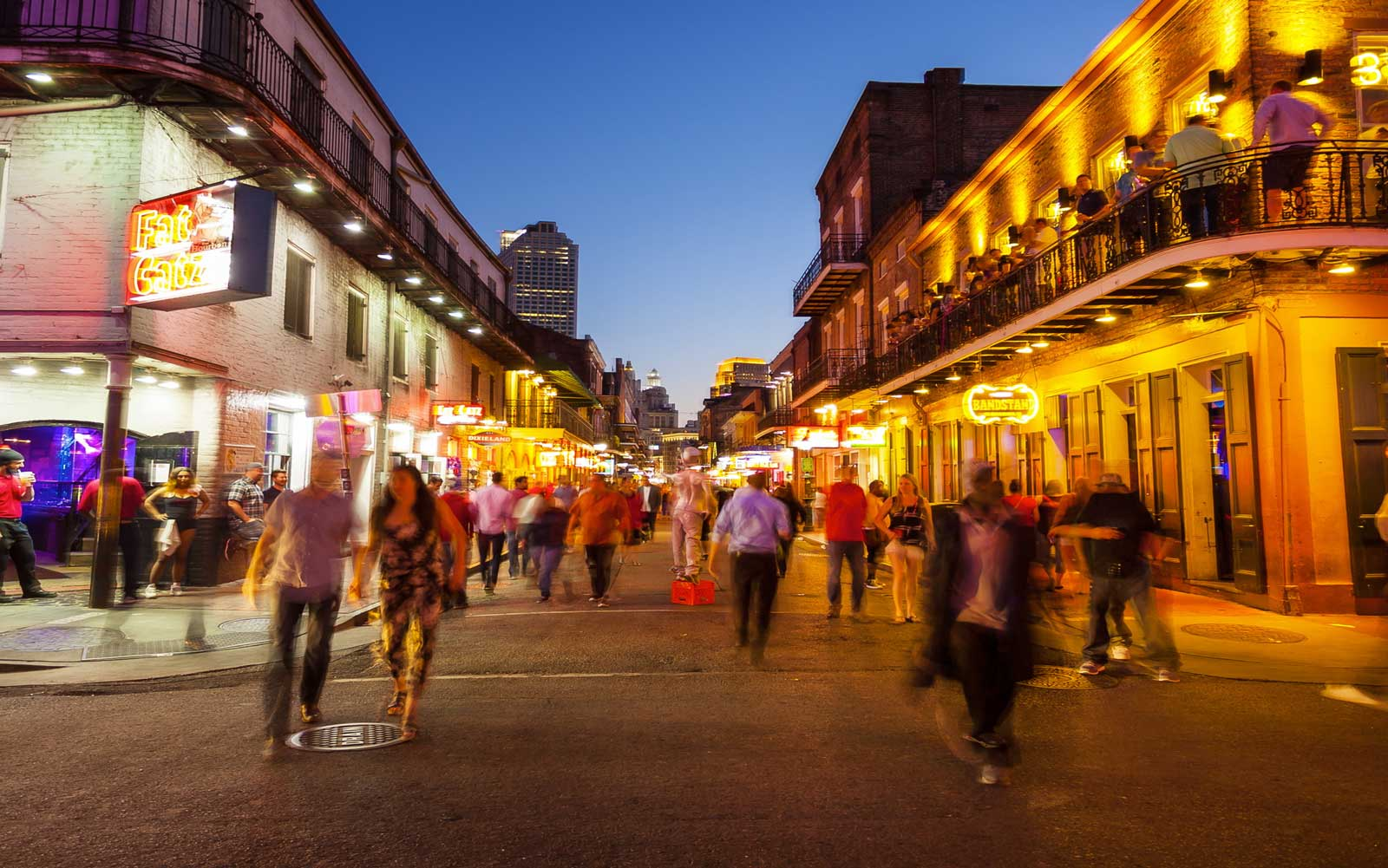 Bourbon Street at Night, The French Quarter of New Orleans
