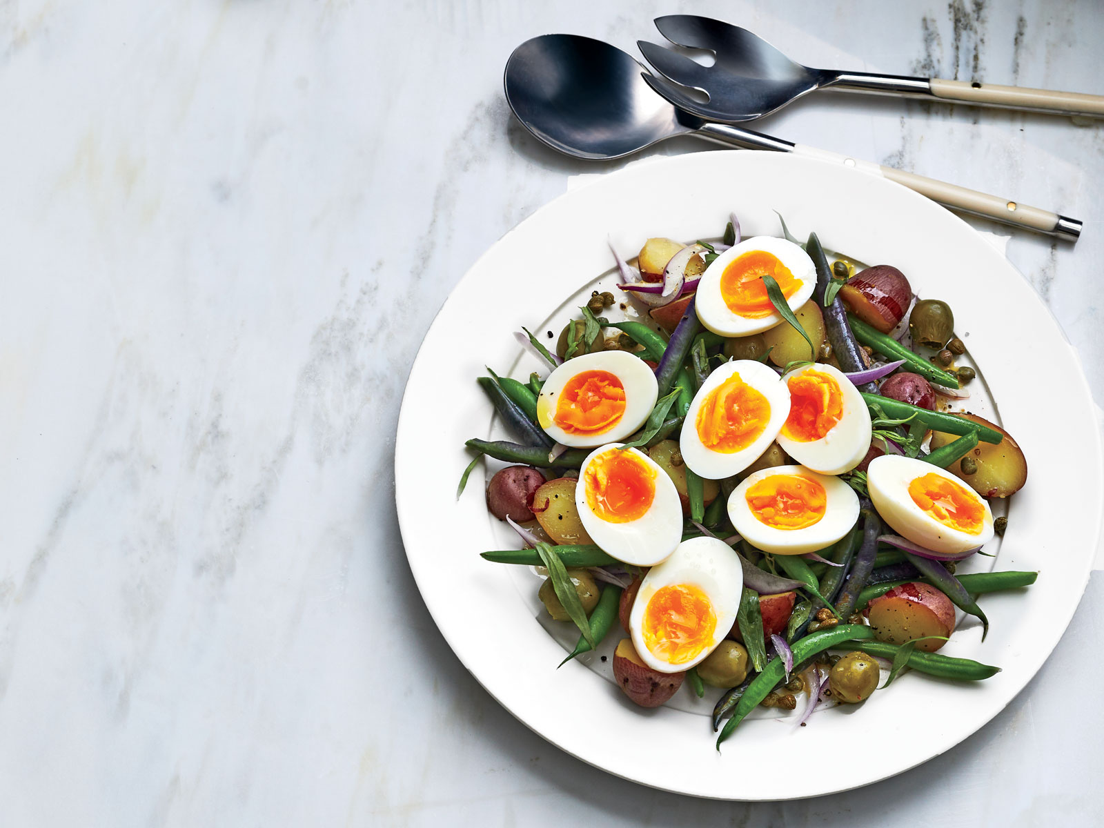 Wax Bean Salad with Potatoes Capers and Eggs