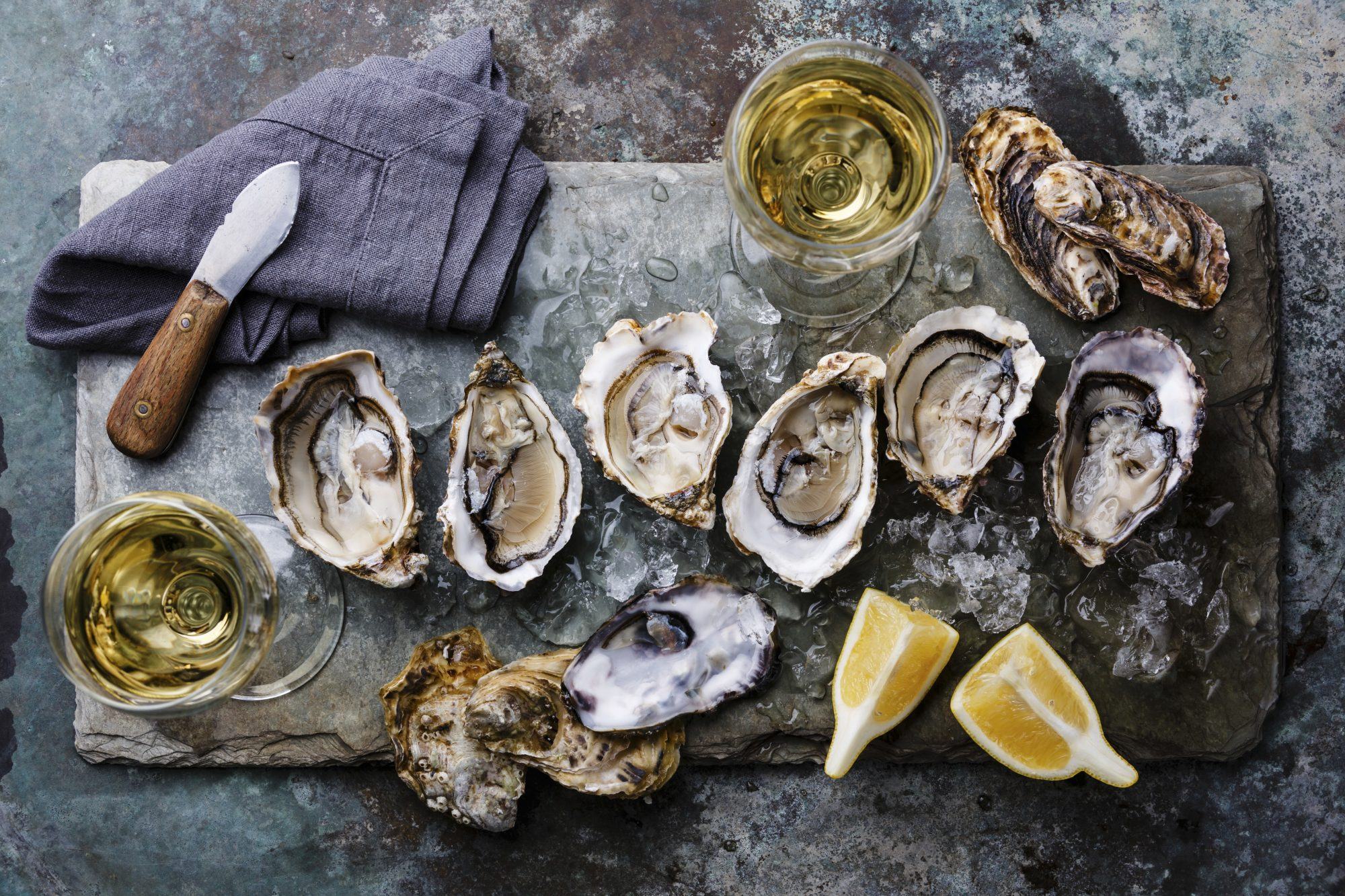 Oysters with white wine